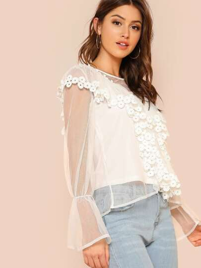 Ruffle Trim Flower Embroidered Sheer Overlay Top WHITE