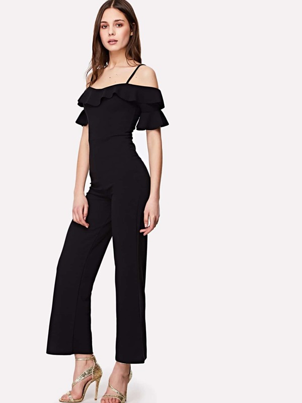 Open Shoulder Solid Ruffle Jumpsuit by Shein