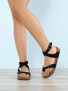 Criss Cross Strapped Cork Footbed Sandal BLACK