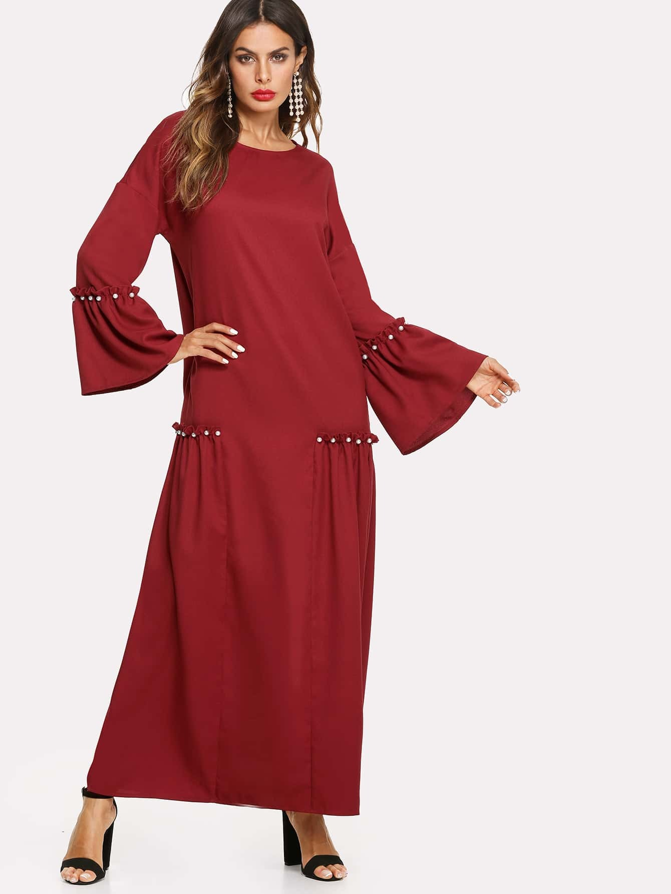 Pearl Beading Bell Sleeve Hijab Long Dress pearl beading layered sleeve top