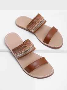 Tribal Embellished Flat Sandals