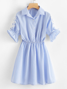 Lace Trim Fluted Sleeve Striped Dress
