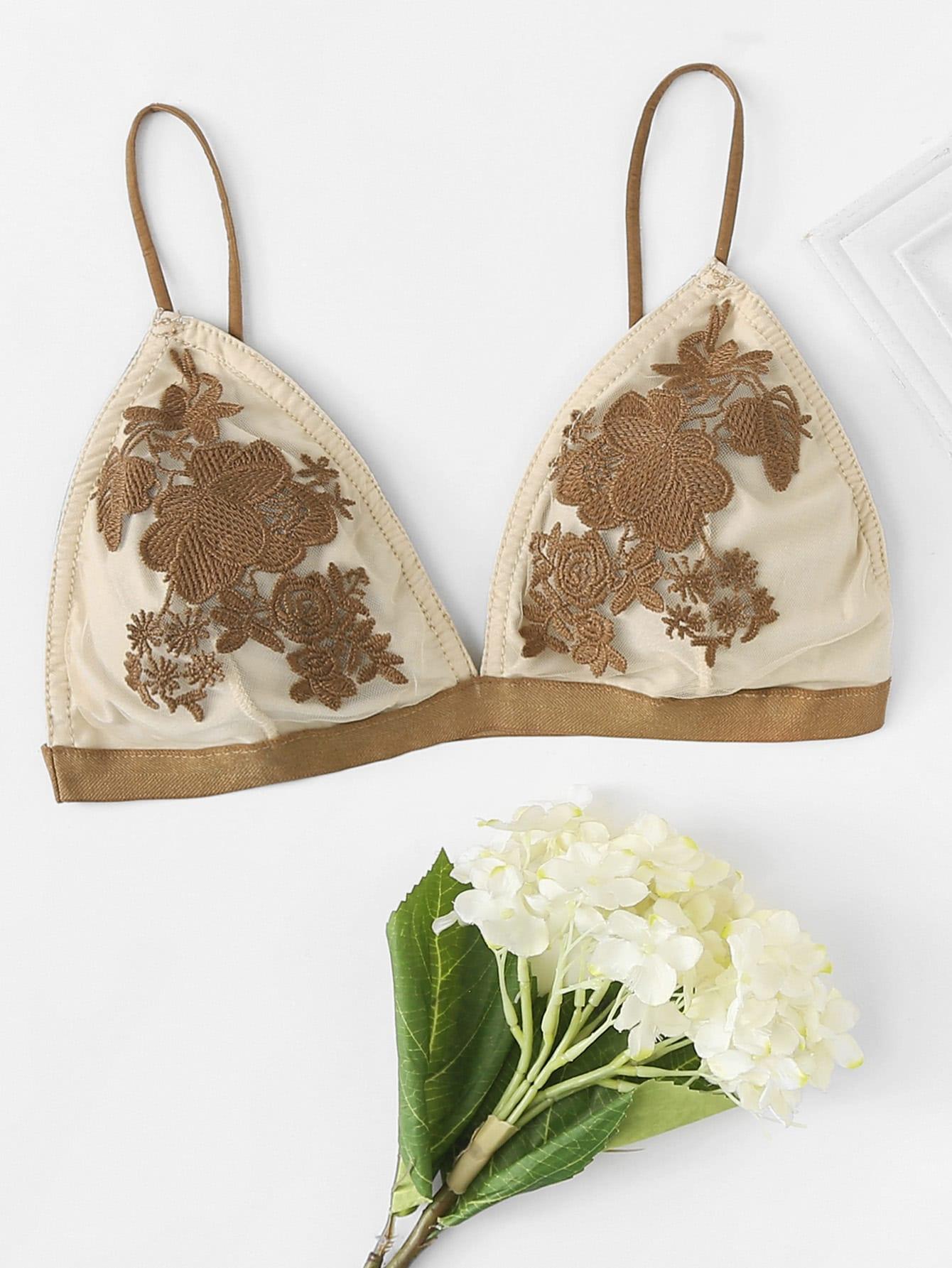 Flower Embroidered Triangle Bralette rhinestone flower net bralette