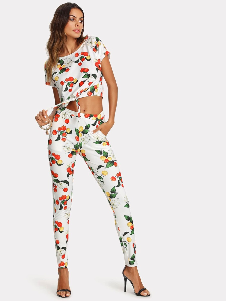 Botanical Print Knot Front Top And Pants Set by Shein