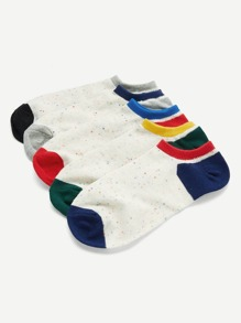 Contrast Cuff Design Socks 5pairs
