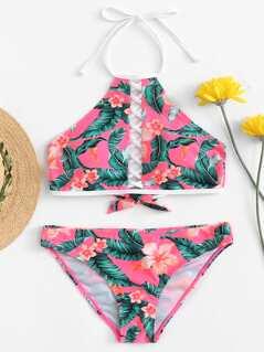 Crisscross Insert Tropical Print Bikini Set