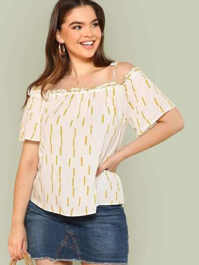 Cold Shoulder Line Print Top OFF WHITE