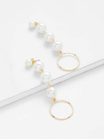 Faux Pearl Design Drop Earrings With Ring