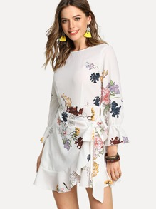 Trumpet Sleeve Ruffled Overlap Dress