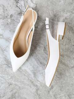 Pointy Toe Sling Back Pump WHITE