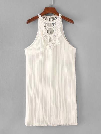 Guipure Lace Panel Tie Back Pleated Chiffon Dress