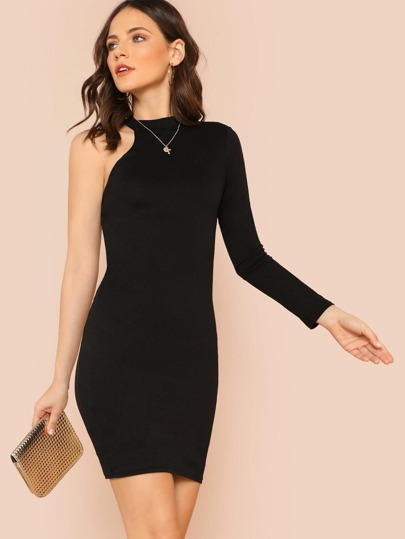 One Shoulder Long Sleeve Dress with High Neckline BLACK