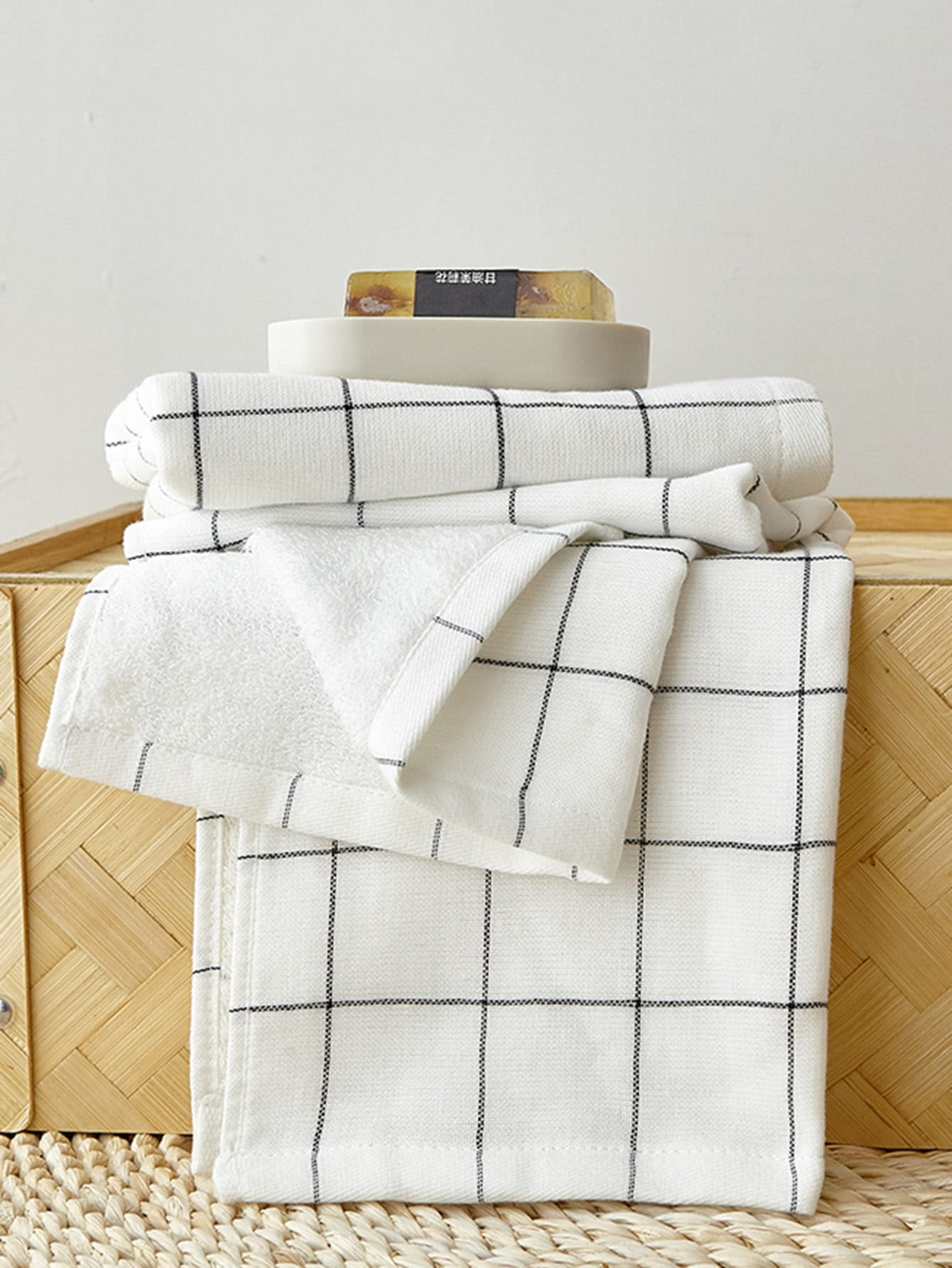 Grid Cotton Bath Towel Set 2pcs
