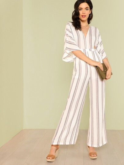 Deep V Neckline Stripe Print Jumpsuit with Tie Back and Cut Out Detail OFF WHITE RED MULTI