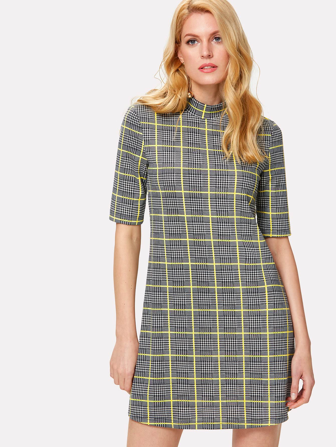 Zip Back Stand Collar Plaid Dress zip up back knot plaid top