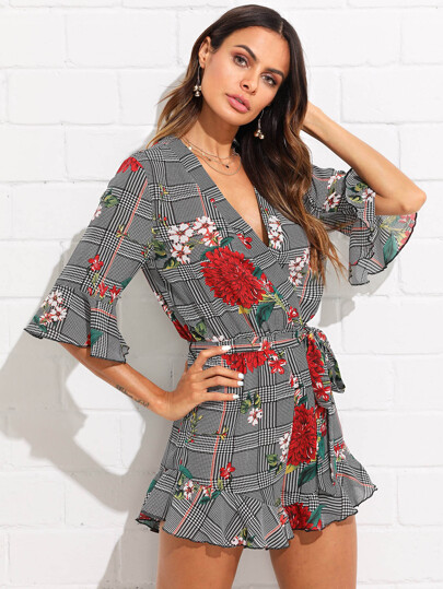 Mixed Print Surplice Wrap Ruffle Romper