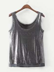 Raw Edge Sequin Tank Top