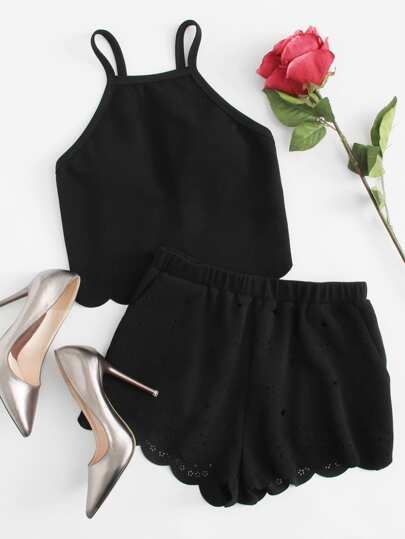 Scallop Trim Cami Top And Laser Cut Shorts Set