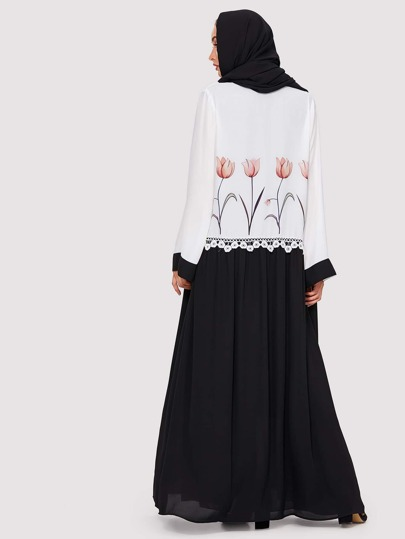 Lace Detail Flower Print Two Tone Abaya