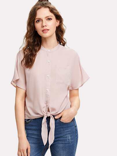 Knot Front Patch Pocket Button Up Shirt