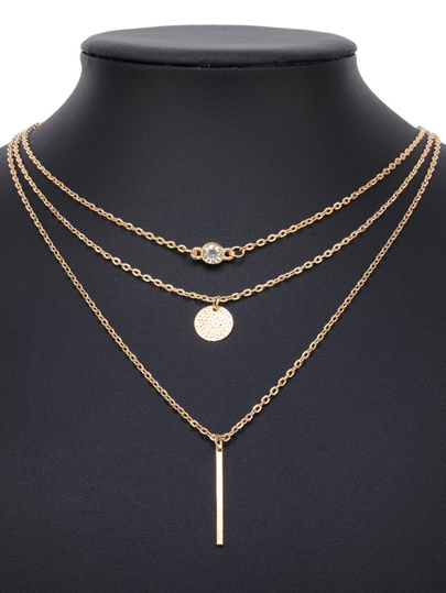 Rhinestone & Bar Pendant Layered Chain Necklace