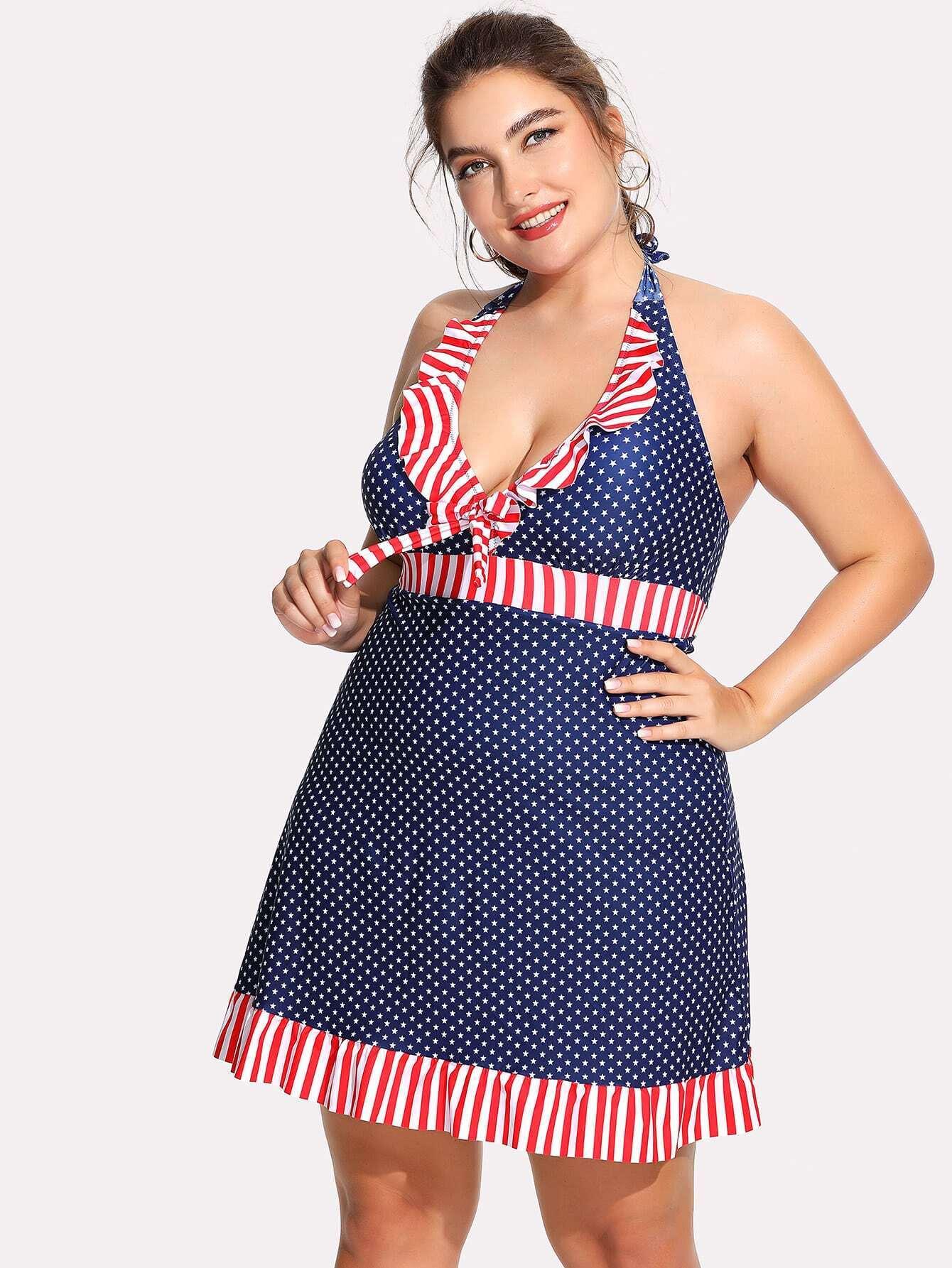все цены на Polka Dot & Striped Print Skort Swim Dress