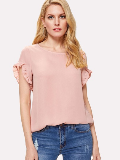 Ruffle Trim Sleeve Solid Top