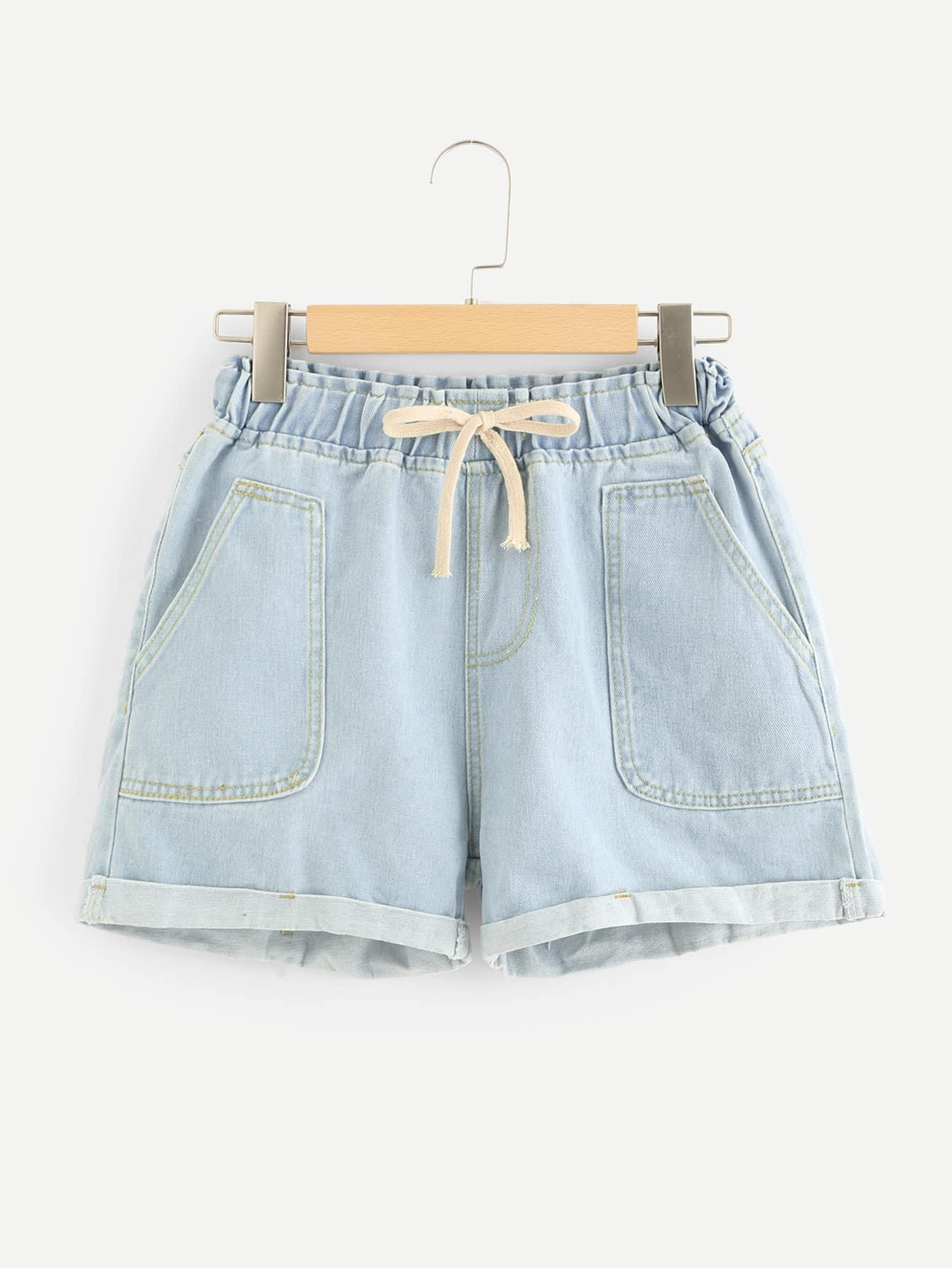 Dual Pocket Drawstring Waist Denim Shorts