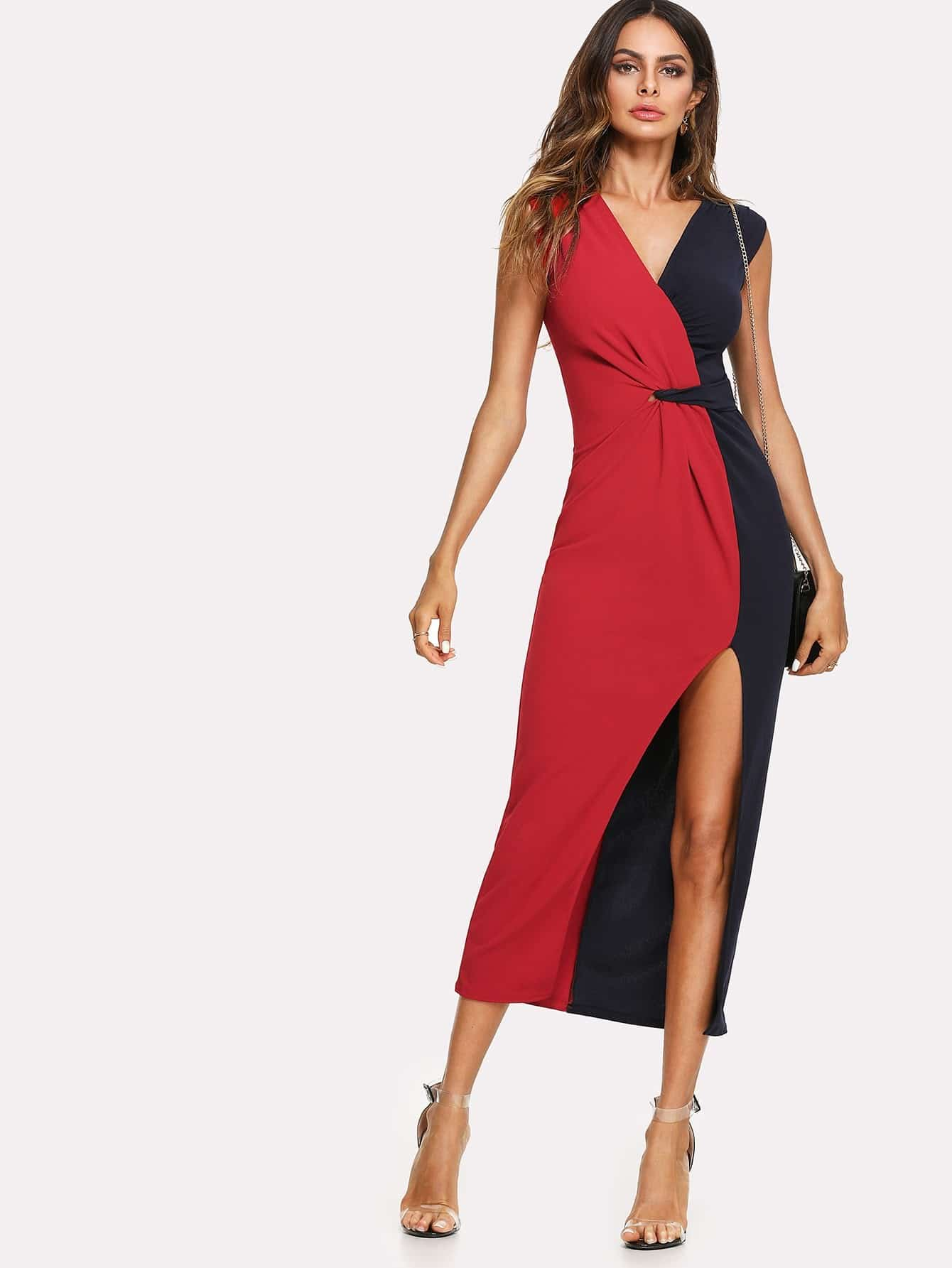 Two Tone Split Side Longline Dress two tone drop shoulder sweatshirt
