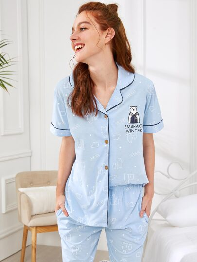 Contrast Binding Shirt & Pants PJ Set