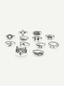 Leaf & Animal Design Ring Set 12Pcs