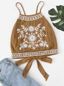Knot Back Embroidered Cami Top