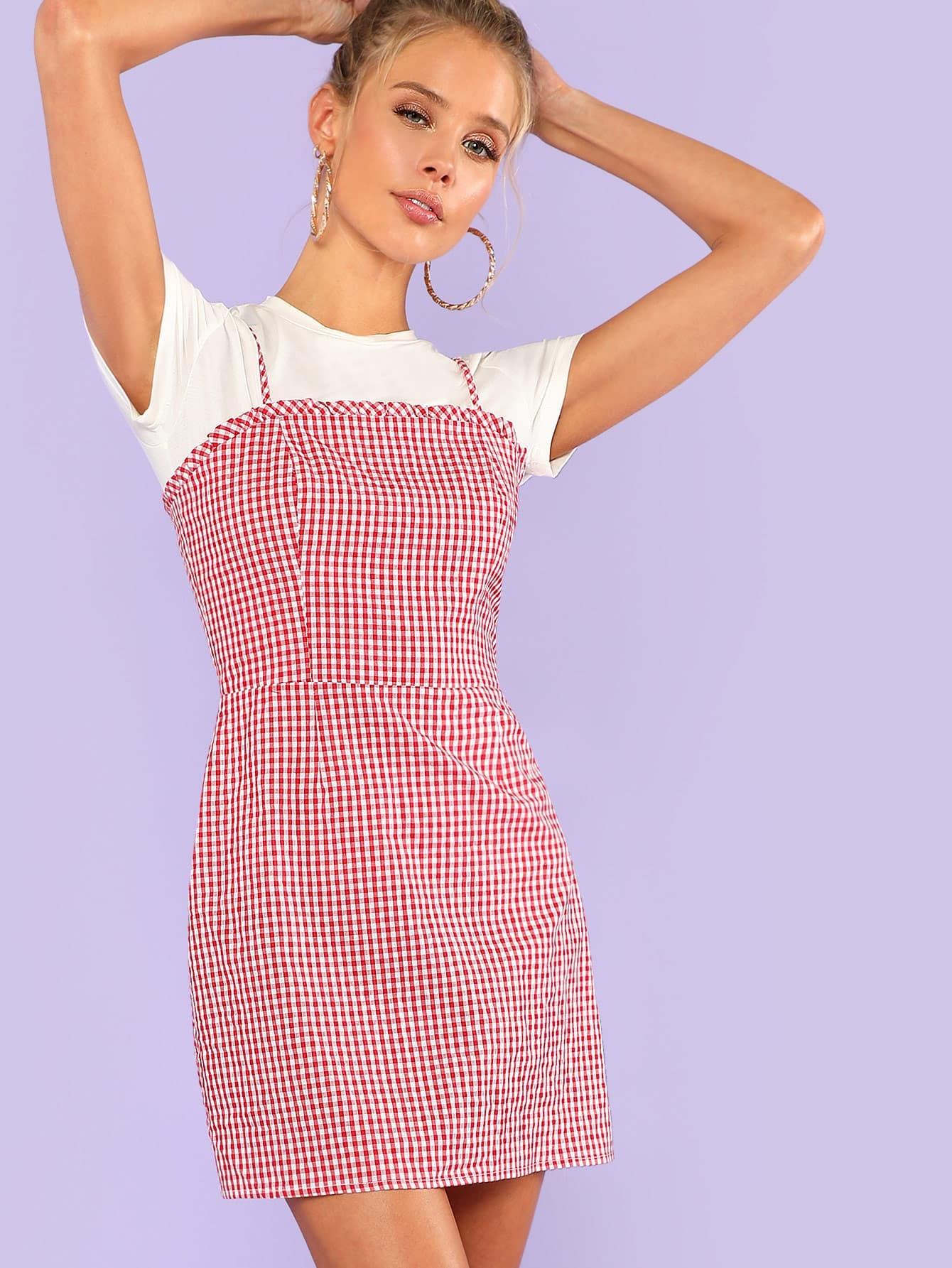 Frill Detail Gingham Cami Dress pearl detail frill off shoulder dress