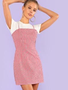 Frill Detail Gingham Cami Dress