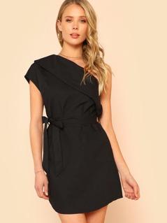 Foldover One Shoulder Belted Dress