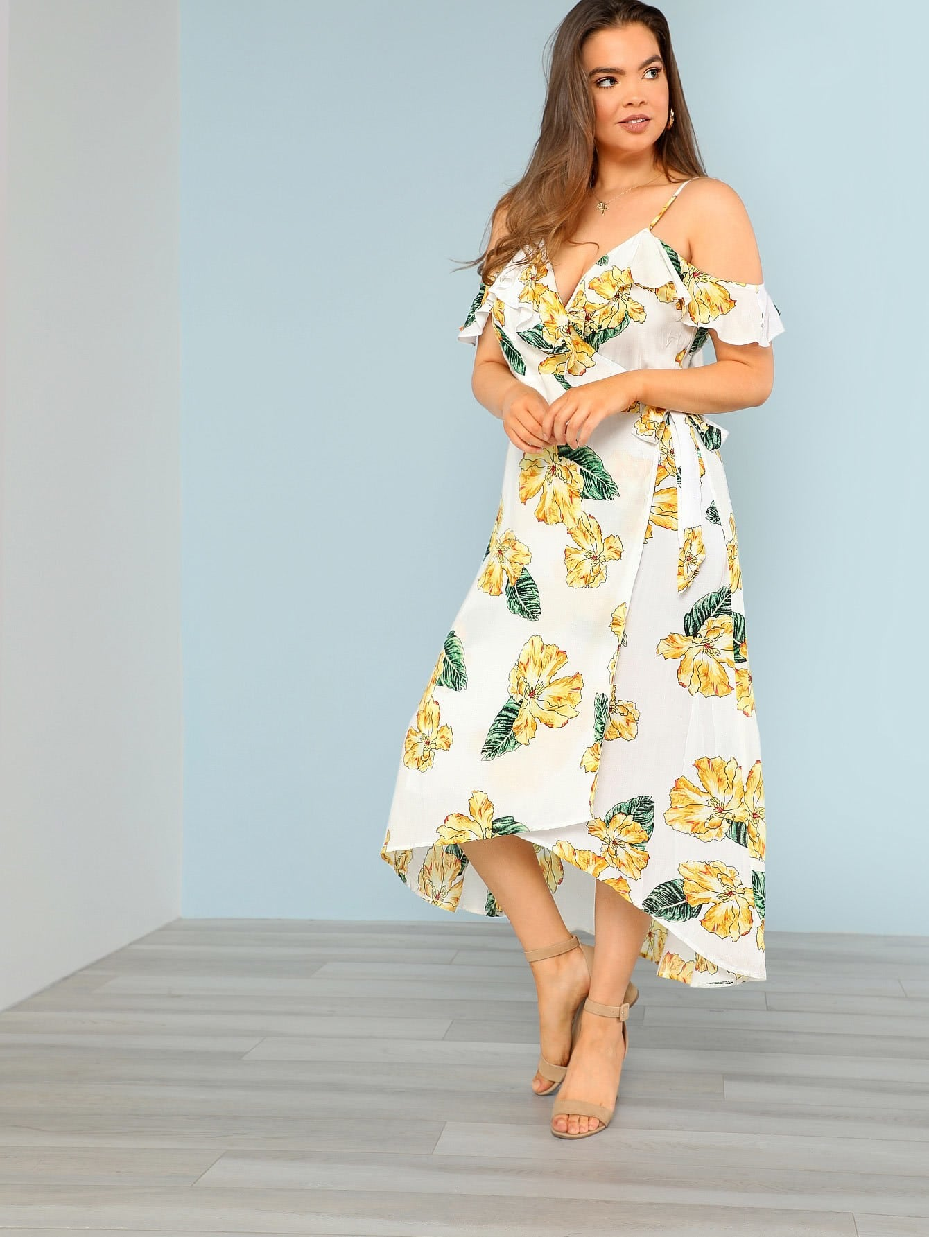 Floral Print Ruffle Cold Shoulder Surplice Wrap Dress cold shoulder ruffle detail pinstripe wrap dress