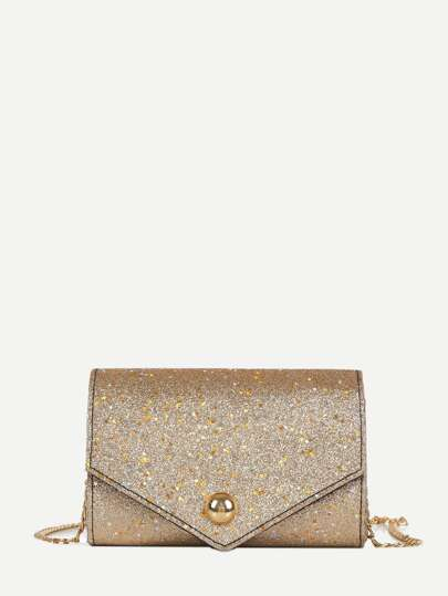 Glitter Flap Chain Bag