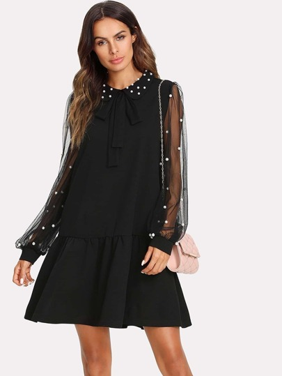 Mesh Bishop Sleeve Tied Neck Dress