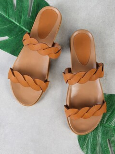 Twisted Double Band Slide Sandal TAN
