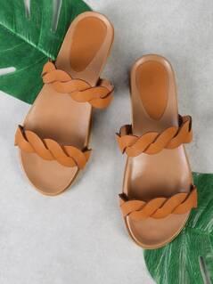 Twisted Double Band Slide Sandal TAN