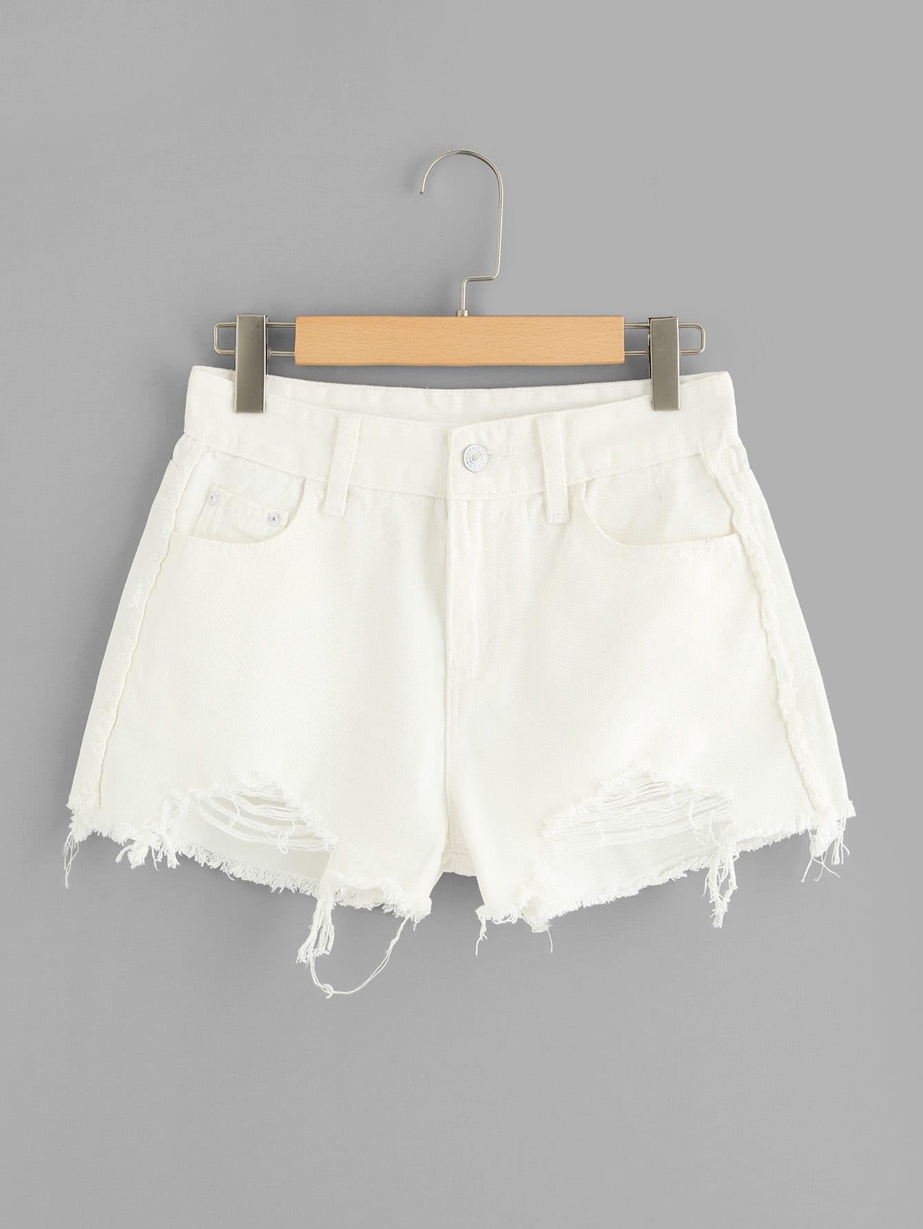 Frayed Hem Ripped Denim Shorts chic pocket design ripped hem denim shorts for women