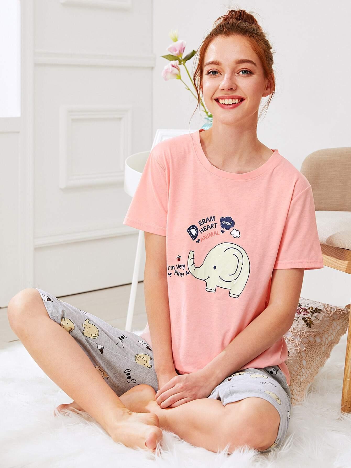 Elephant Print Tee & Pants PJ Set exmork 100 вт 12 в poly si