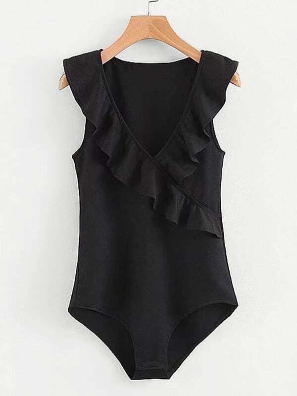 Ruffle Trim Solid Bodysuit solid ruffle trim oversized dress
