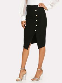 Button Side Split Asymmetric Skirt