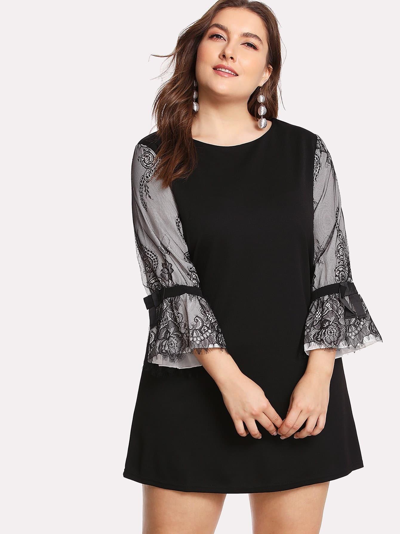 Contrast Lace Sleeve Dress