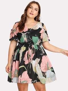 Plus Open Shoulder Drawstring Floral Dress