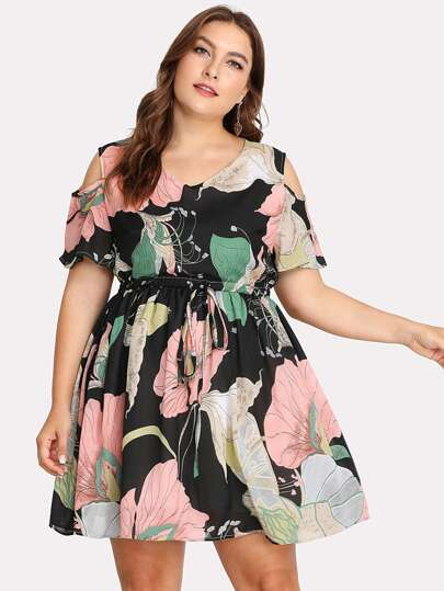 Open Shoulder Drawstring Floral Dress