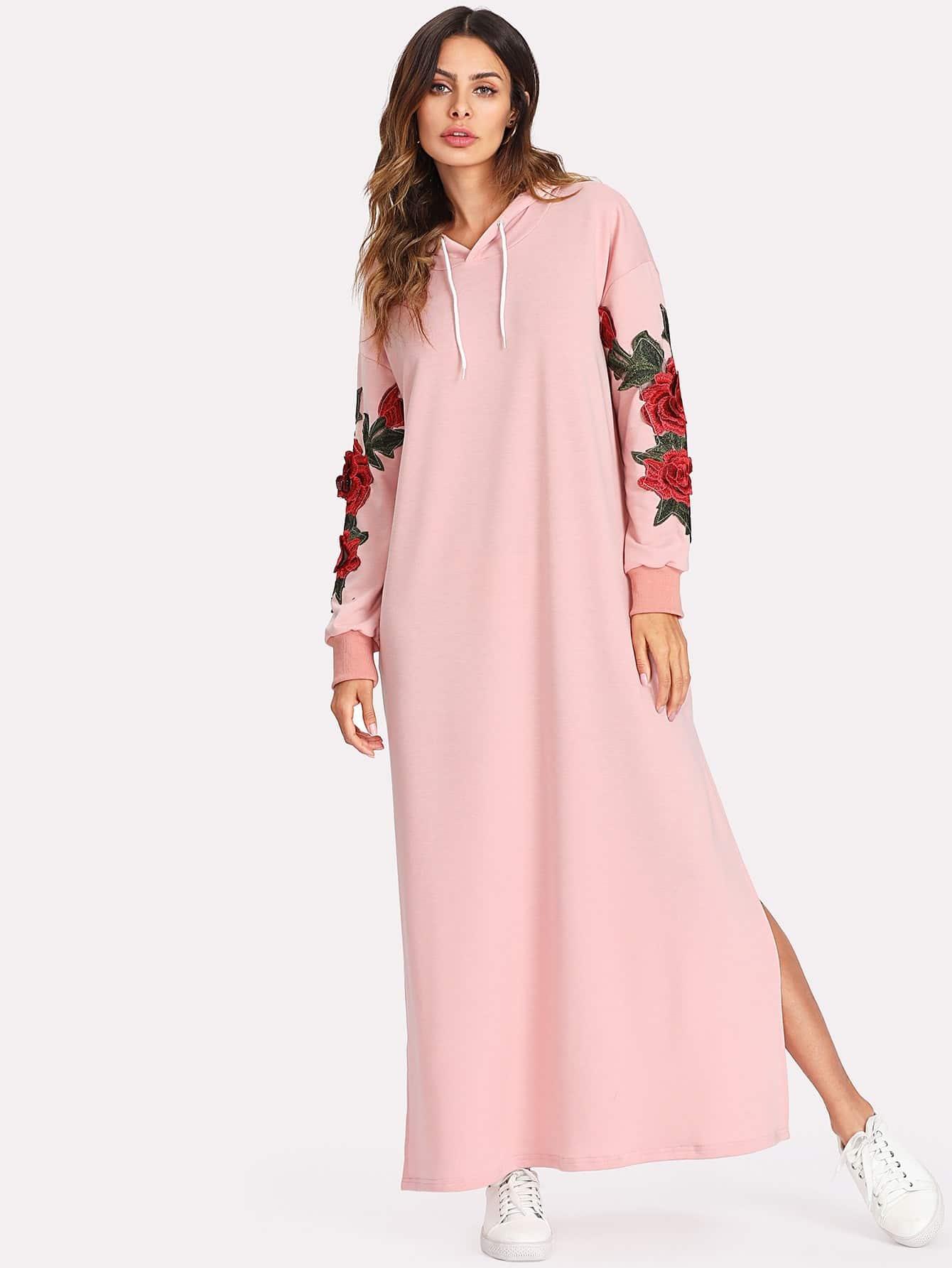 3D Embroidered Applique Slit Side Hoodie Dress embroidered rose applique side split belt dress