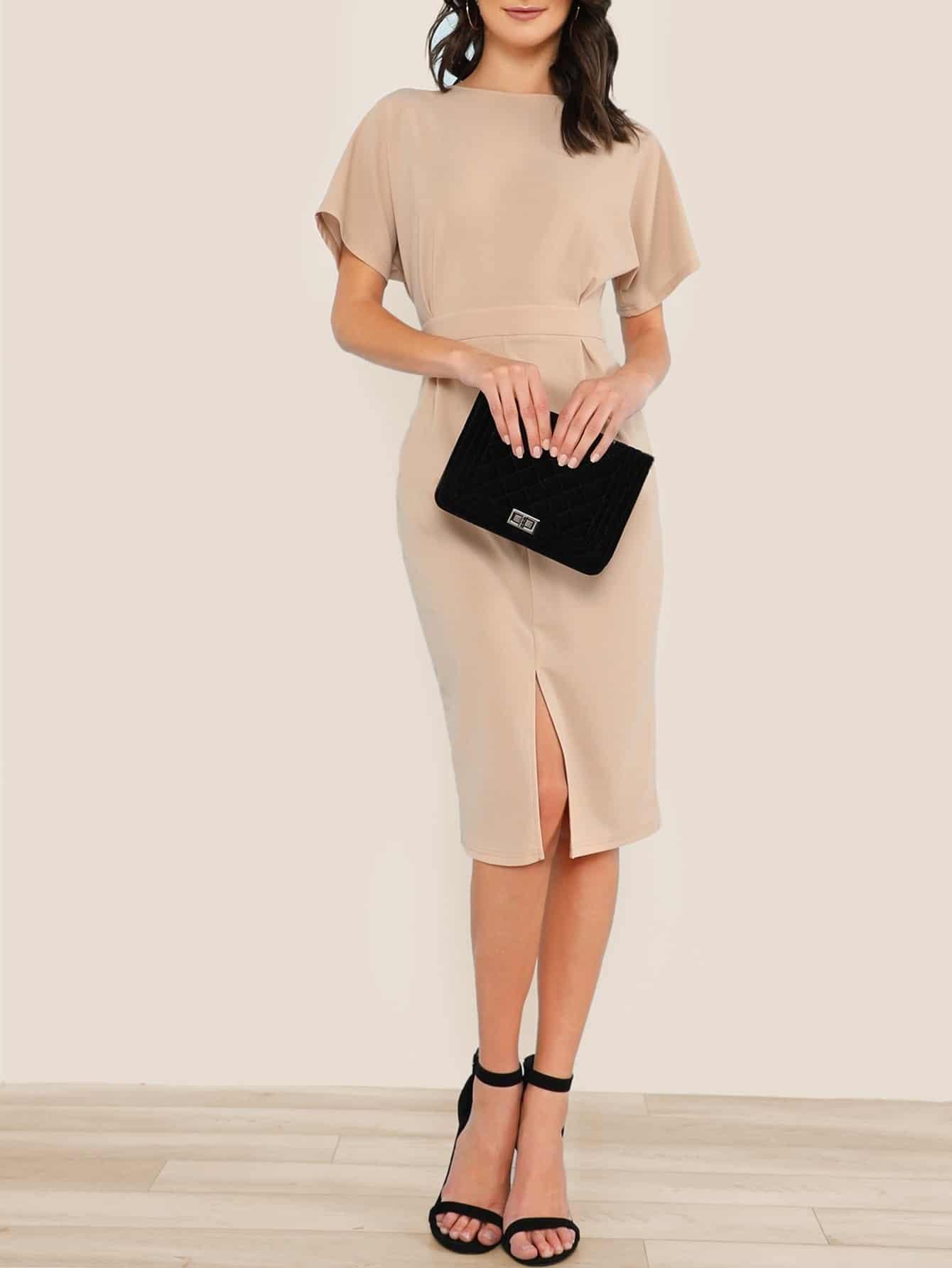 Купить Batwing Sleeve Split Front Dress, Zandria Theis, SheIn