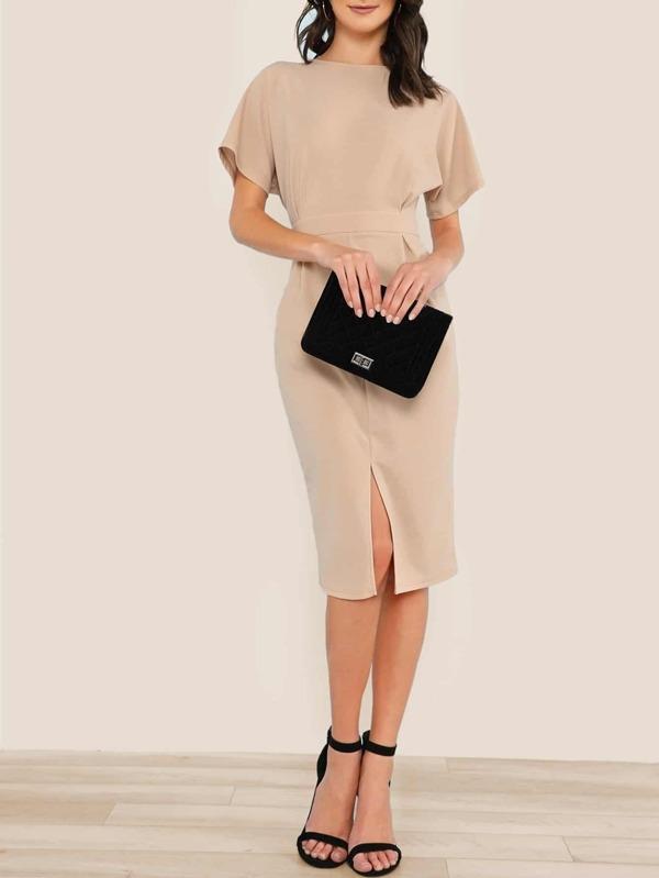 Batwing Sleeve Split Front Dress by Shein